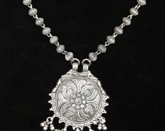 Handmade Ethnic Necklace,925 Sterling Silver Necklace,Boho Beaded Banjara Necklace,Silver Necklace,Antique Silver Necklace from India-RLNC04
