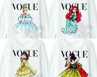 Girl's Short Sleeve Vogue Disney Princess Shirt - Kids Disney Vogue Princess Shirt - Babies Disney Vogue Princess Shirt/Onesie