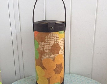 Vintage funky floral knitting needle yarn tall storage can basket tin handle fabric