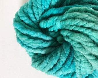 SALE Chunky 2ply Handspun Yarn, U.S. Raised Targhee Wool, Aqua