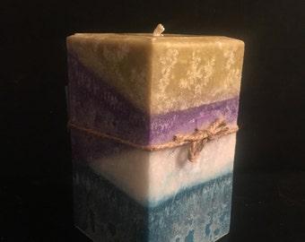 """4x5 1/2"""" multi colored/scented square pillar candle"""