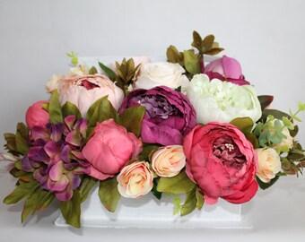 Artificial flower arrangement, faux flowers, wedding flowers, mothers day gift, floral arrangement centerpiece, table decor, home decor