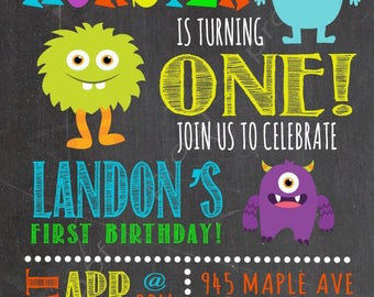 Custom First Birthday Party Invitations, Little Monster - Digital File