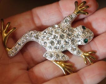 Silver and gold tone clear rhinestone pin brooch