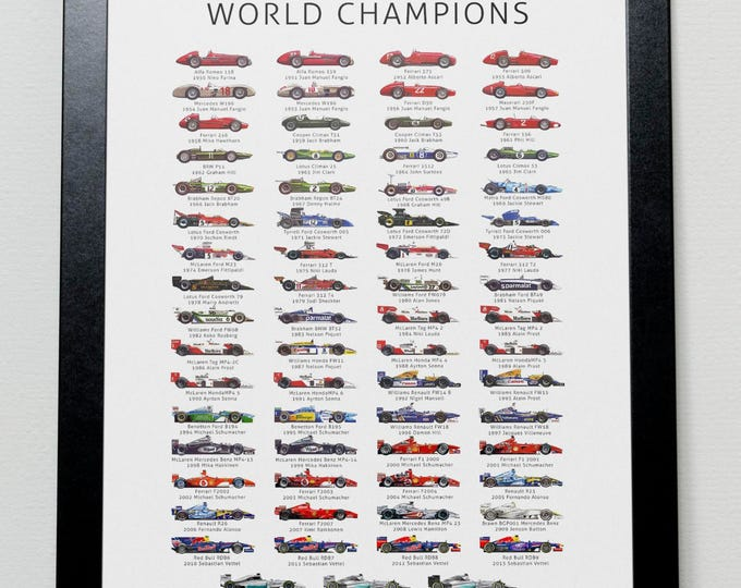 Featured listing image: The History of Formula One World Champions Poster- F1