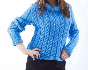 Blue sweater, wool sweater, women's sweater, warm sweater