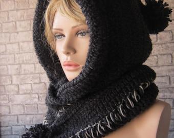 Crochet Hooded Scarf, Crochet Cowl, Hood Scarf, Crochet Hood Scarf, Knit Cowl ,Dark grey andblack hood scarf