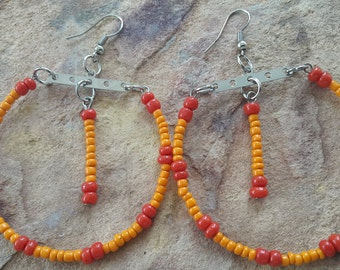 Big hoop earrings colourful jewellery light earrings red silver orange beaded hoops handmade hoops bright earrings party earrings African