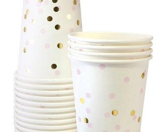 Cups | Pink & Gold Confetti Paper Cups | Gold Foil | Premium Quality Paper Cups | Party Cups | Party Supplies | The Party Darling