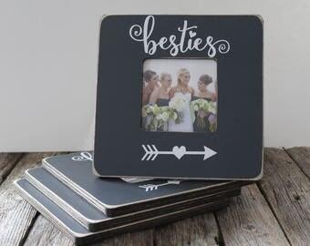 Custom Bridesmaid Picture Frames, Set of 4, Bestie Frames, Bridesmaid Gifts, Grey Picture Frames