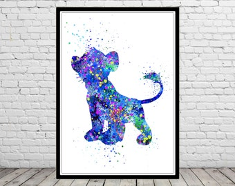 The Lion King Simba inspired, Simba, Watercolor print, Kids Room Decor, Poster,print(666b)