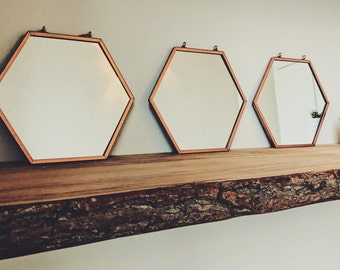 Small hexagonal copper mirror