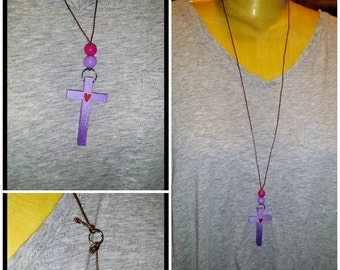 Wood Cross Necklace~Purple with Red Heart