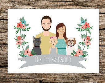 Illustrated family portrait, custom couple drawing, pets, gift, personalized wall art