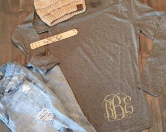 Monogram Shirt - Monogram Tunic - Monogrammed Long Sleeve Tunic Shirt - Shirt Tail Hem