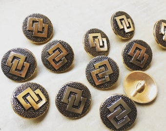 12 beautiful vintage metal buttons - aluminium - Rhombus - goldfarbend - high quality worked from Germany