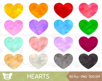 Watercolor Heart Clipart, Painted Hearts Clip Art, Valentine Love Graphic Cliparts PNG Digital Download, Commercial Use