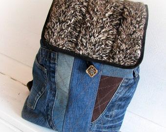 Denim backpack  Handmade backpack Patchwork backpack Jeans backpack Denim rucksack Recycled jeans Knit backpack Sale  Winter bag