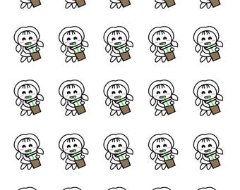 Iced Latte DOODLE Planner Stickers by StickersandDoodles