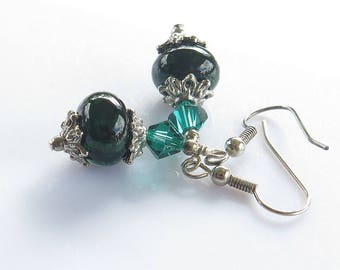 Dark Green Earrings, Green Lampwork Glass, Dangle and Drop