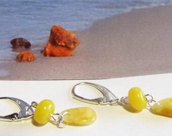 Natural Baltic Amber Yellow Silver 925 Earrings 1.9 gr. egg yolk butterscotch  opaque