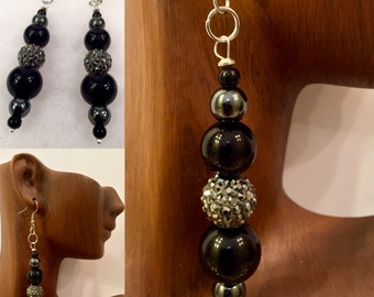 Onyx, Hematite and Swarovski Drop Earrings