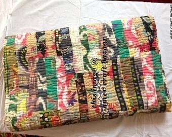 kantha quilt, vintage kantha quilt, indian quilt, kantha throw, coverlet, spring v9517