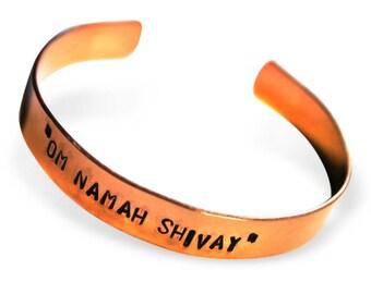OM NAMAH SHIVAYA cuff Hand Stamped Mantra Copper Bracelet Energy Bracelet for Him Her Friends