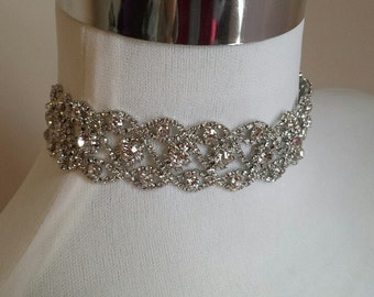 Silver Choker Necklace, Modern Rhinestone Choker Wedding Jewelry (C0517S)