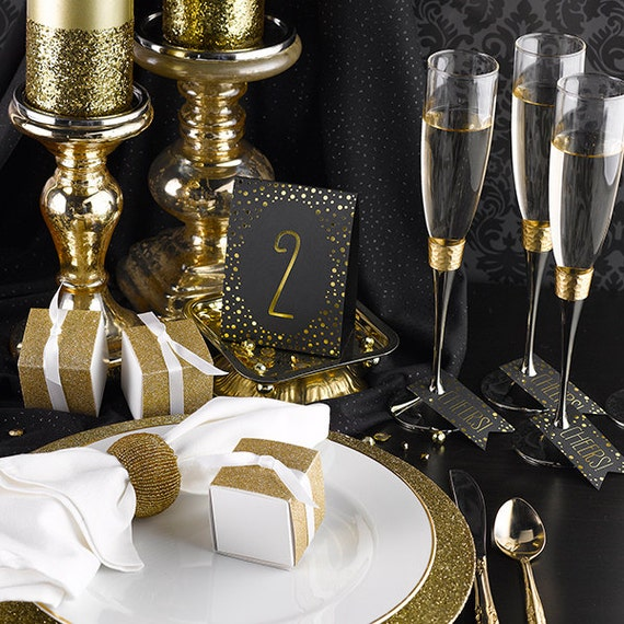 Table Numbers Tent Cards For Wedding Reception Gold Foil
