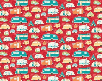 Road Trip Trailer Red - Riley Blake Designs - Camper Tents Camping Vacation - Quilting Cotton Fabric - by the yard fat quarter half