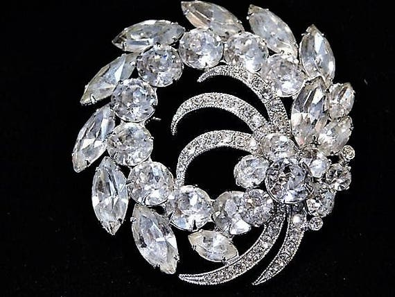 EISENBERG ICE Brooch 1940s 40s Art Deco Mid Century Rhinestone Swarovski Crystal Brooch Wedding Bride Bridal Fashion Jewelry Old Hollywood