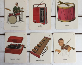 Vintage Flash Card Music and Instruments / 70's Flash Cards