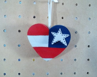 Patriotic Heart Ornament Handmade & Hand Painted