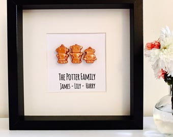Personalised Robot Family new home gift Box Frame