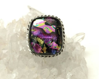 Fancy Dichroic Glass Ring Size 8.5