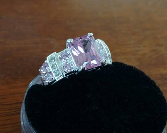 Pink Topaz Party Ring Size 7.5
