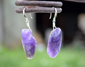 Raw amethyst earrings, Amethyst earrings, Silver amethyst earrings, Raw amethyst silver earrings, Earrings raw amethyst, Amethyst jewelry.