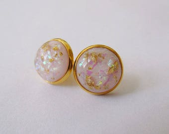 Gold Leaf Earrings - Pink Series