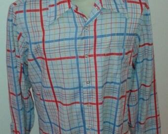Vintage Retro 80's Men's JC Penney Long Sleeve Plaid button up shirt Size L