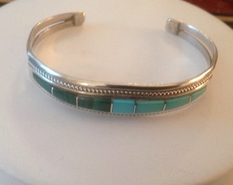 Native American TIM BEDALL Sterling Silver Turquoise & Malachite Cuff Bracelet