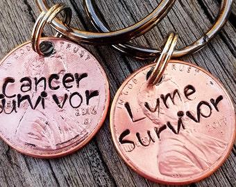 Custom lyme/cancer survivor lucky penny keychain