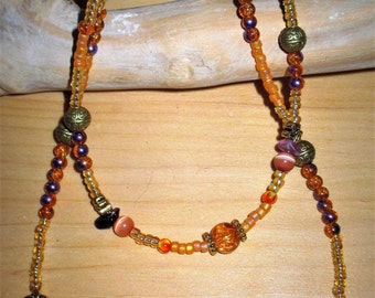 """18"""" ag doll/childs jewelry, orange and purple with fluorite chips necklaces,  childs orange and purple necklace,  OR purchase seperately"""