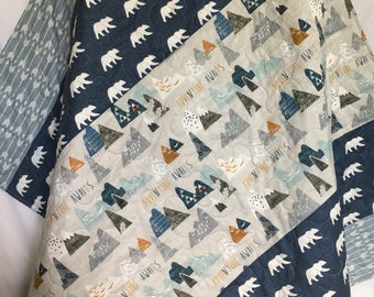 Baby Boy Quilt-Blue and Grey Quilt-Woodland Quilt-Boy Crib Bedding-Bear-Arrow-Adeventure Awaits-Boy Blanket-Toddler-Rustic Quilt-Minky