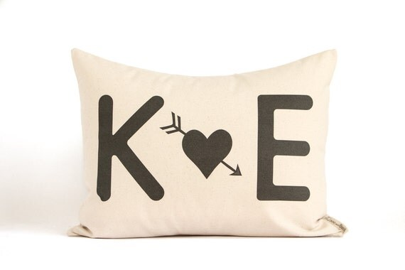 Initials Pillow, Wedding Gift, Valentines Gift for Him, Gift for Her, Anniversary Gift, Cotton Anniversary, Throw Pillows