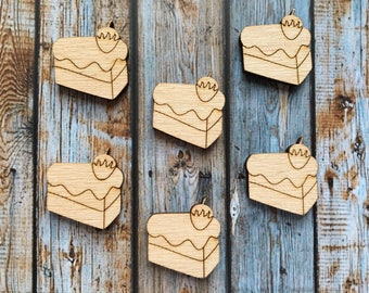 8 Pieces Cake Laser Cut Supplies, Wood Tags, Wood Blanks, Pendants, Wood Pendant, Wood Craft Supply, Wood Supplies, Wood Squares