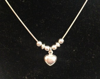 Sterling silver heart necklace 15 inches long