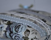 FREE SHIPPING:  Pin Cushion, Vintage Style, Ribbon, Lace, Grey, Blue, Floral