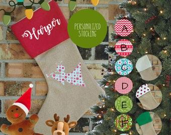 Personalized Angel Burlap Christmas Stocking