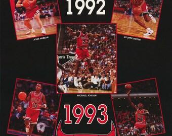 Chicago Bulls Three Peat  1991 1992 1993  Poster